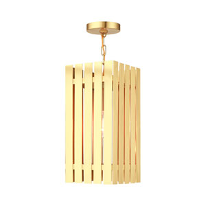 Greenwich Satin Brass One-Light Outdoor Pendant Lantern