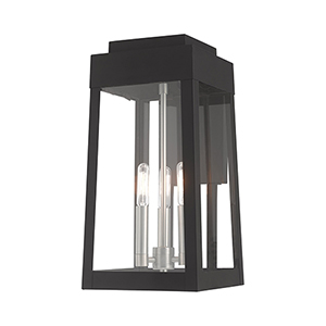 Oslo Black Three-Light Wall Lantern Transparent Glass