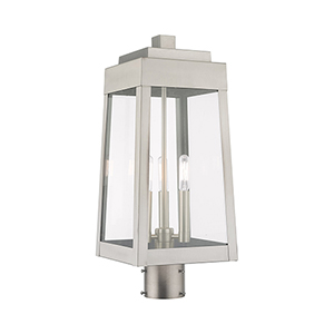Oslo Brushed Nickel Eight-Inch Three-Light Post Top Lantern