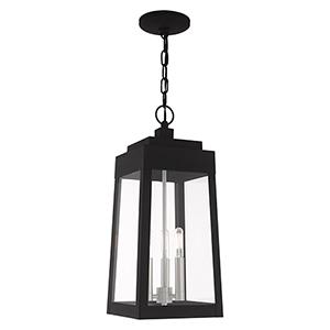 Oslo Black Three-Light Pendant Lantern Transparent Glass