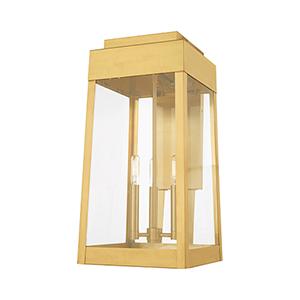 Oslo Satin Brass 20-Inch Three-Light Outdoor Wall Lantern