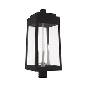 Oslo Black Three-Light Post Top Lantern