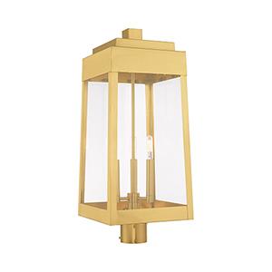Oslo Satin Brass Three-Light Post Top Lantern