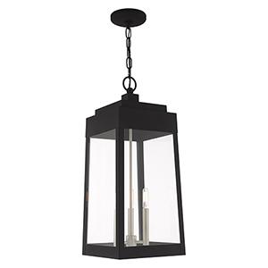 Oslo Black Three-Light Pendant Lantern