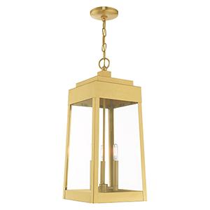 Oslo Satin Brass Three-Light Pendant Lantern