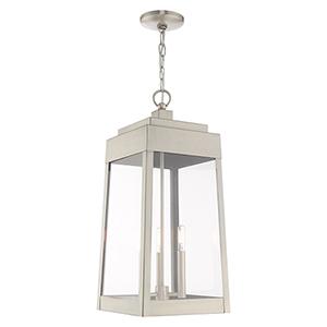Oslo Brushed Nickel Three-Light Pendant Lantern
