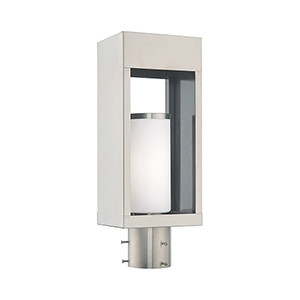Bleecker Brushed Nickel Post Top Lantern Opal White Cylinder Glass