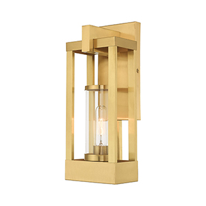 Delancey Satin Brass 16-Inch One-Light Outdoor Wall Lantern