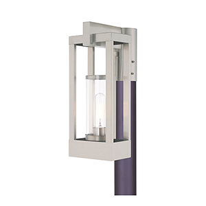 Delancey Brushed Nickel Post Top Lantern Transparent Glass