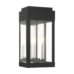York Black Eight-Inch Two-Light Outdoor Wall Lantern