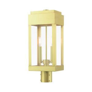 York Satin Brass Two-Light Outdoor Post Lantern