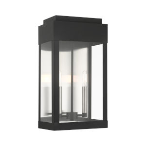 York Black 10-Inch Two-Light Outdoor Wall Lantern