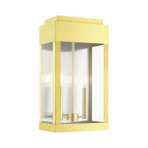 York Satin Brass 10-Inch Two-Light Outdoor Wall Lantern