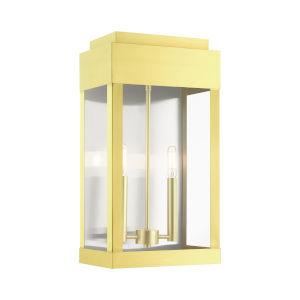 York Satin Brass 10-Inch Two-Light Outdoor Wall Lantern