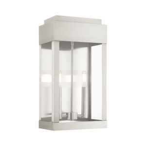 York Brushed Nickel 10-Inch Two-Light Outdoor Wall Lantern