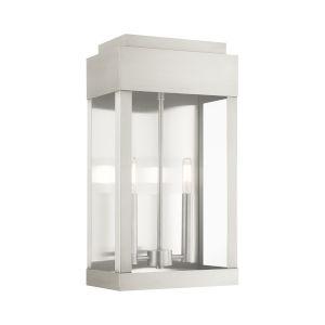 York Brushed Nickel 10-Inch Two-Light Outdoor Wall Lantern