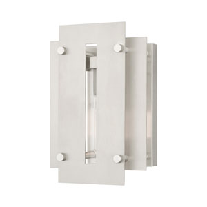 Utrecht Brushed Nickel 10-Inch One-Light Outdoor Wall Lantern