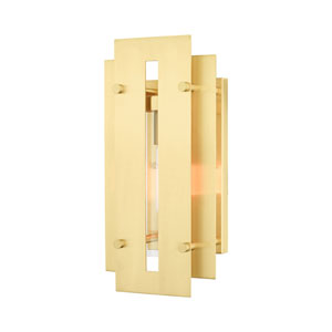 Utrecht Satin Brass 14-Inch One-Light Outdoor Wall Lantern