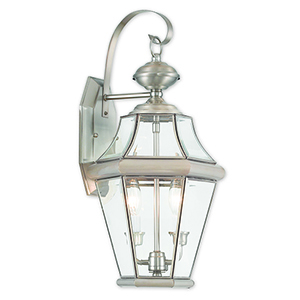 Georgetown Brushed Nickel Two-Light Outdoor Wall Sconce