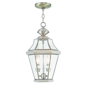 Georgetown Brushed Nickel Two-Light Outdoor Lantern Pendant