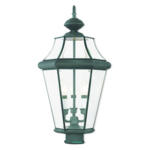 Georgetown Charcoal Three-Light Outdoor Post Lantern