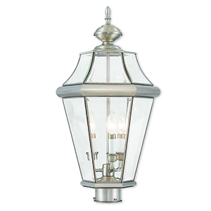 Georgetown Brushed Nickel Three-Light Outdoor Post Lantern