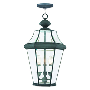 Georgetown Charcoal Three-Light Outdoor Lantern Pendant