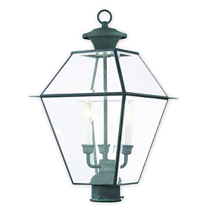 Westover Charcoal Three-Light Outdoor Post Lantern