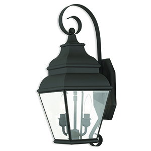 Exeter Black Two-Light Outdoor Wall Sconce