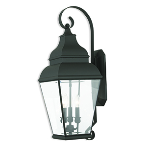 Exeter Black Three-Light Outdoor Wall Sconce