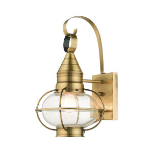 Newburyport Antique Brass Nine-Inch One-Light Outdoor Wall Lantern