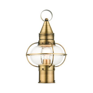 Newburyport Antique Brass Nine-Inch One-Light Outdoor Post Lantern