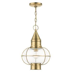 Newburyport Antique Brass 11-Inch One-Light Outdoor Pendant