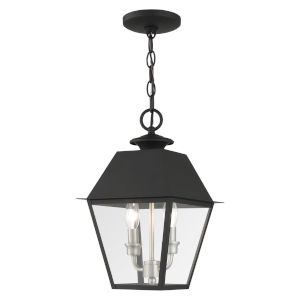 Mansfield Black Two-Light Outdoor Pendant