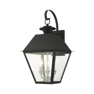 Mansfield Black Three-Light Outdoor Wall Lantern