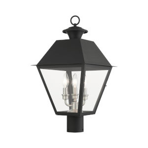 Mansfield Black Three-Light Outdoor Post Lantern