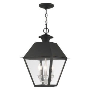 Mansfield Black Three-Light Outdoor Pendant Lantern
