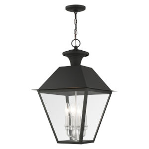 Mansfield Black Four-Light Outdoor Pendant