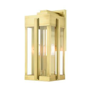 Lexington Natural Brass Eight-Inch Three-Light Outdoor Wall Lantern