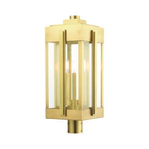 Lexington Natural Brass Three-Light Outdoor Post Lantern