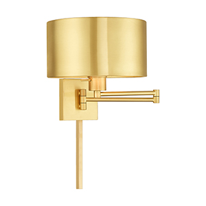 Swing Arm Wall Lamps Satin Brass 11-Inch One-Light Swing Arm Wall Lamp with Hand Crafted Satin Brass Solid Brass Shade