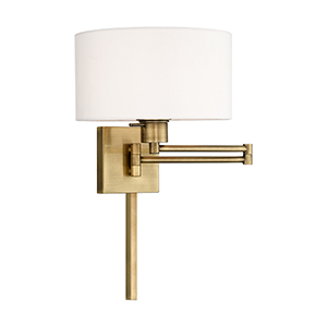 Swing Arm Wall Lamps Antique Brass 11-Inch One-Light Swing Arm Wall Lamp with Hand Crafted Off-White Hardback Shade