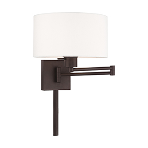 Swing Arm Wall Lamps Bronze 11-Inch One-Light Swing Arm Wall Lamp with Hand Crafted Off-White Hardback Shade