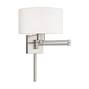 Swing Arm Wall Lamps Brushed Nickel 11-Inch One-Light Swing Arm Wall Lamp with Hand Crafted Off-White Hardback Shade