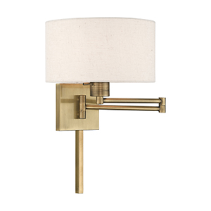 Swing Arm Wall Lamps Antique Brass 11-Inch One-Light Swing Arm Wall Lamp with Hand Crafted Oatmeal Hardback Shade