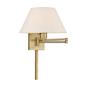 Swing Arm Wall Lamps Antique Brass 13-Inch One-Light Swing Arm Wall Lamp with Hand Crafted Oatmeal Hardback Shade