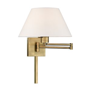 Swing Arm Wall Lamps Antique Brass 13-Inch One-Light Swing Arm Wall Lamp with Hand Crafted Off-White Hardback Shade
