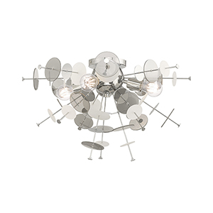 Circulo Polished Chrome 24-Inch Four-Light Ceiling Mount with Chrome Discs and Glass Discs