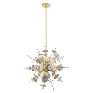 Circulo Satin Brass Six-Light Chandelier