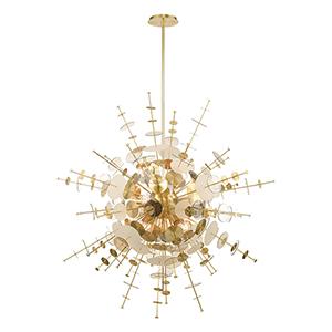 Circulo Satin Brass 12-Light Chandelier